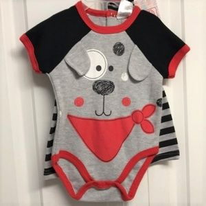 Swiggles 3 Piece Outfit Size 3M / 6M Puppy Design